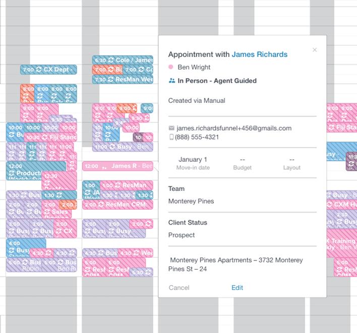 Screenshot of Funnel calendar interface.